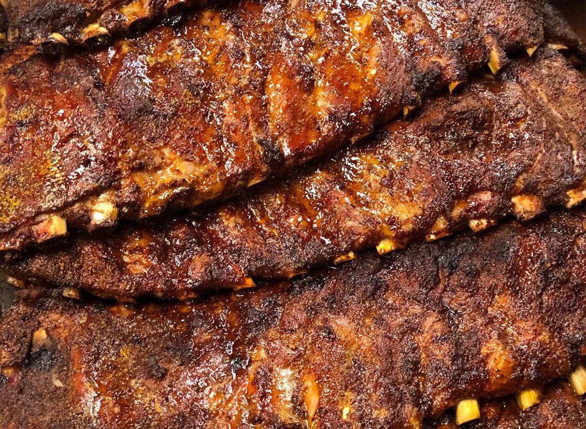 racks of ribs in a pile