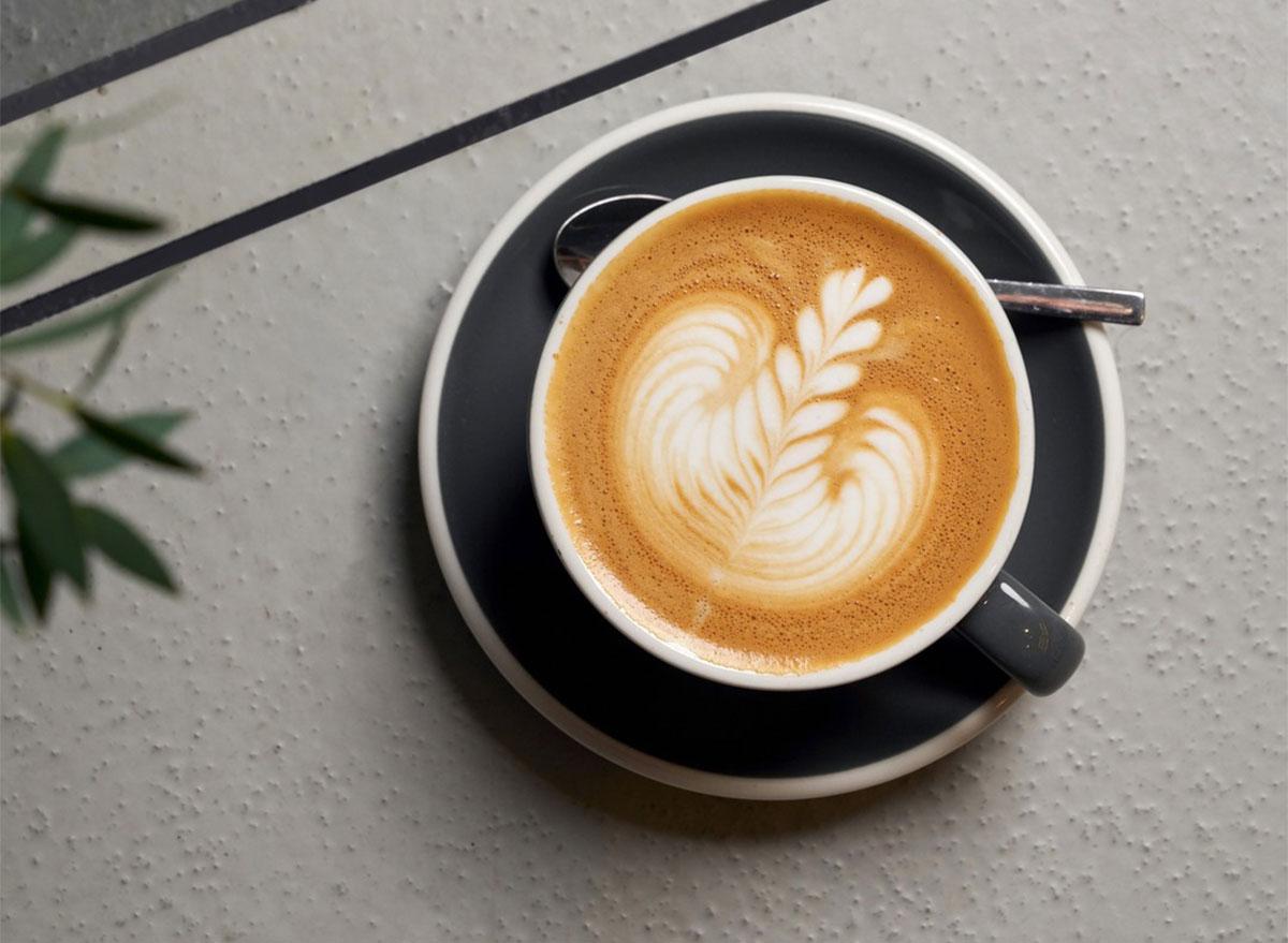 latte in mug with latte art