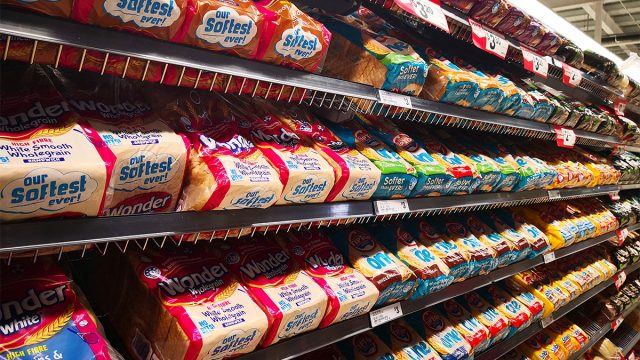 bread aisle at grocery store