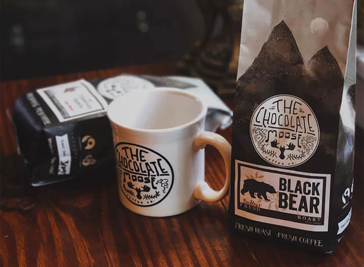 beans of coffee and coffee mug