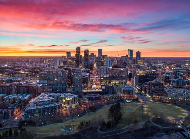 Downtown Denver, Colorado, USA Drone Skyline Aerial Panorama