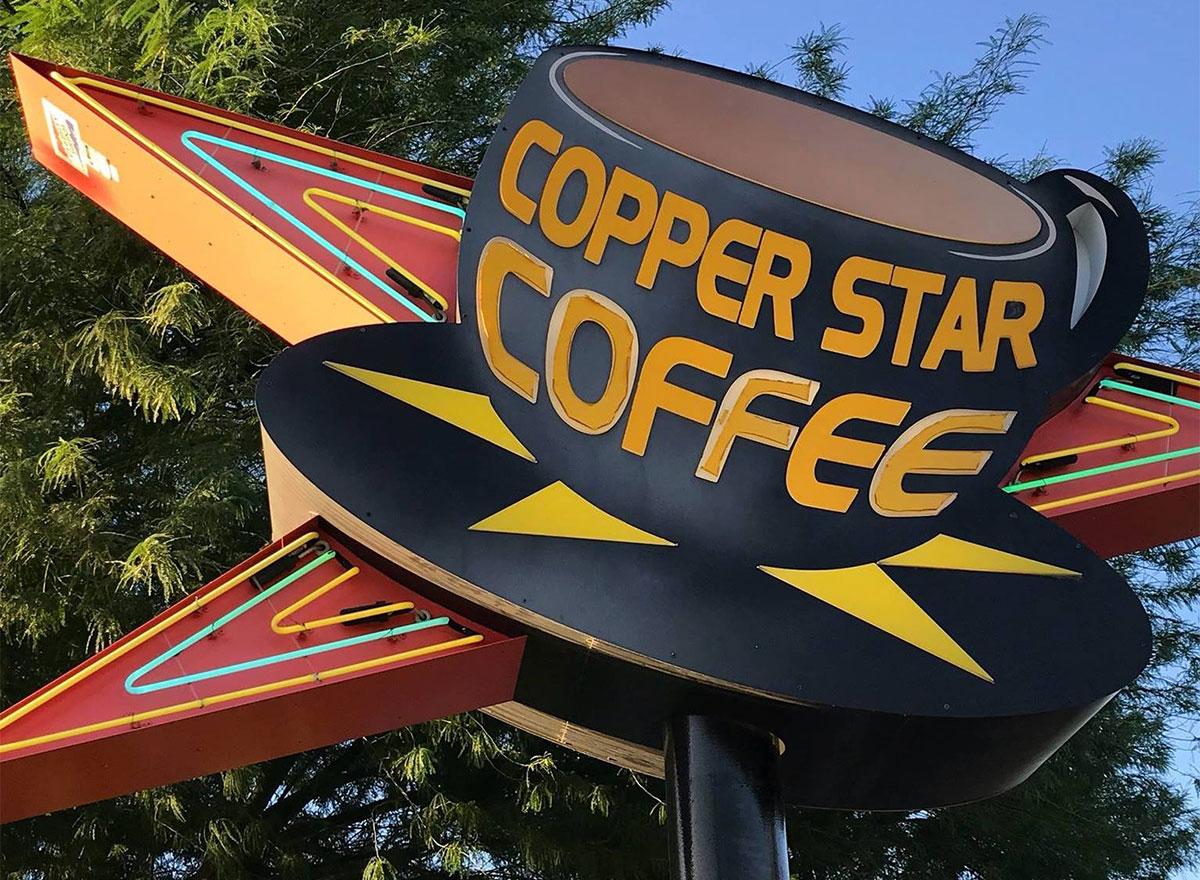 copper star coffee sign