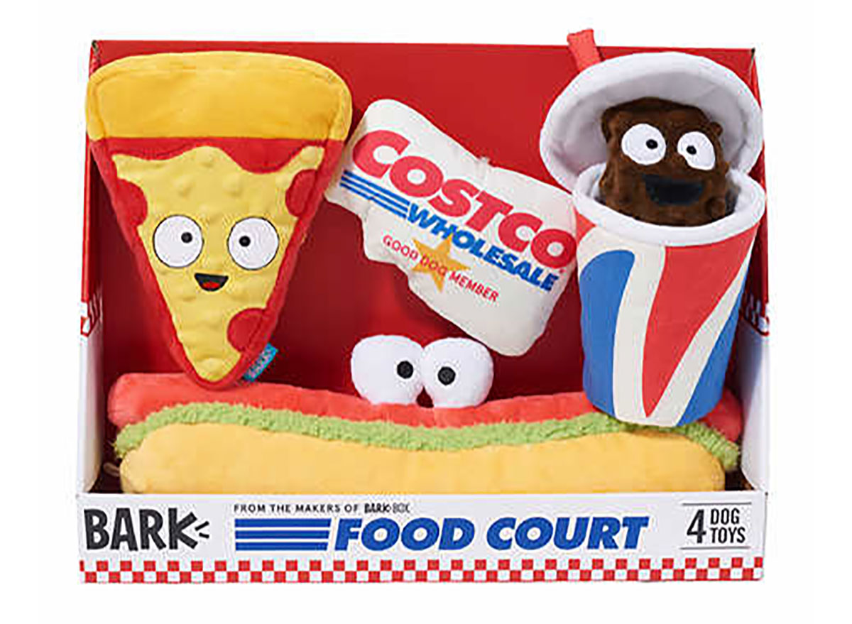box of costco dog toys