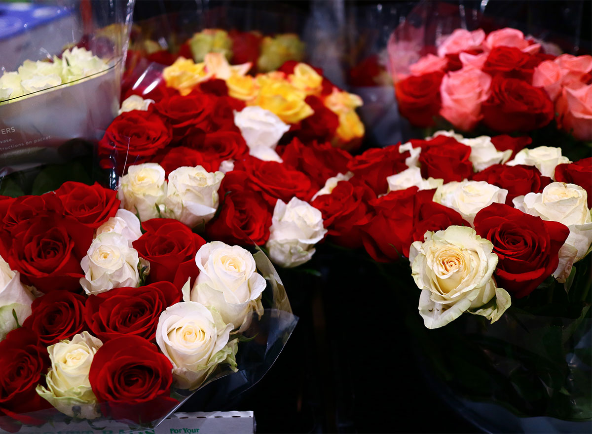 bouquets of red and white roses at costco