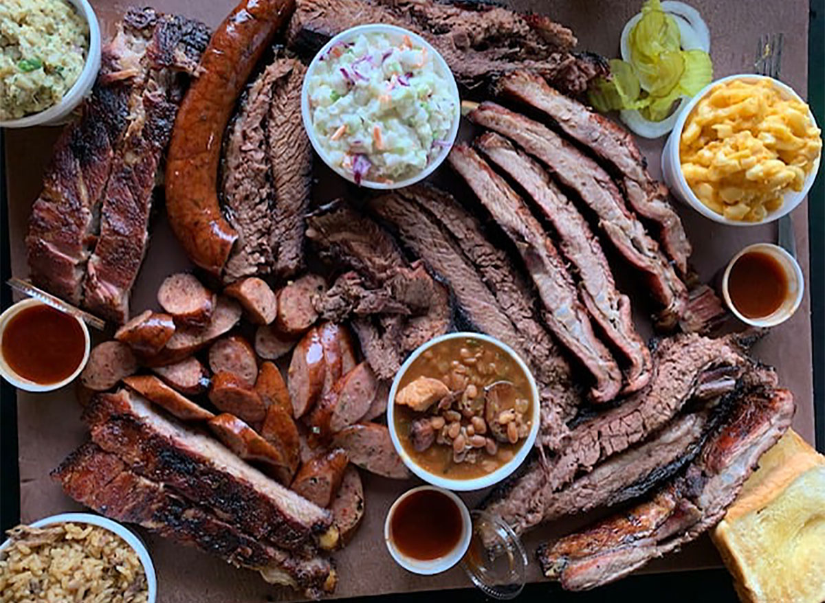 plate of brisket with coleslaw