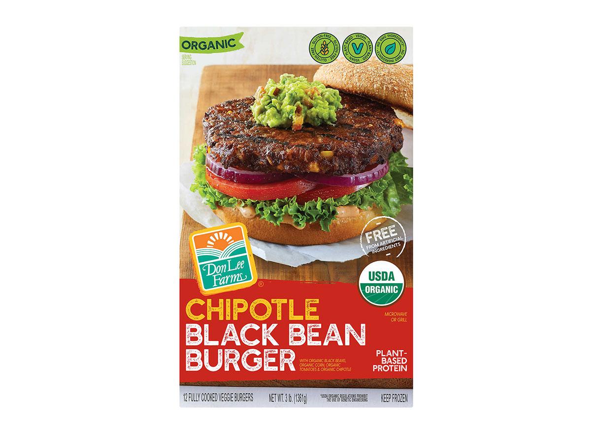 box of frozen don lee farms chipotle black bean burgers