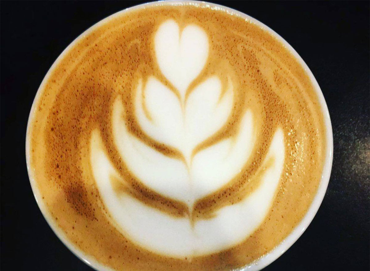 closeup of latte art