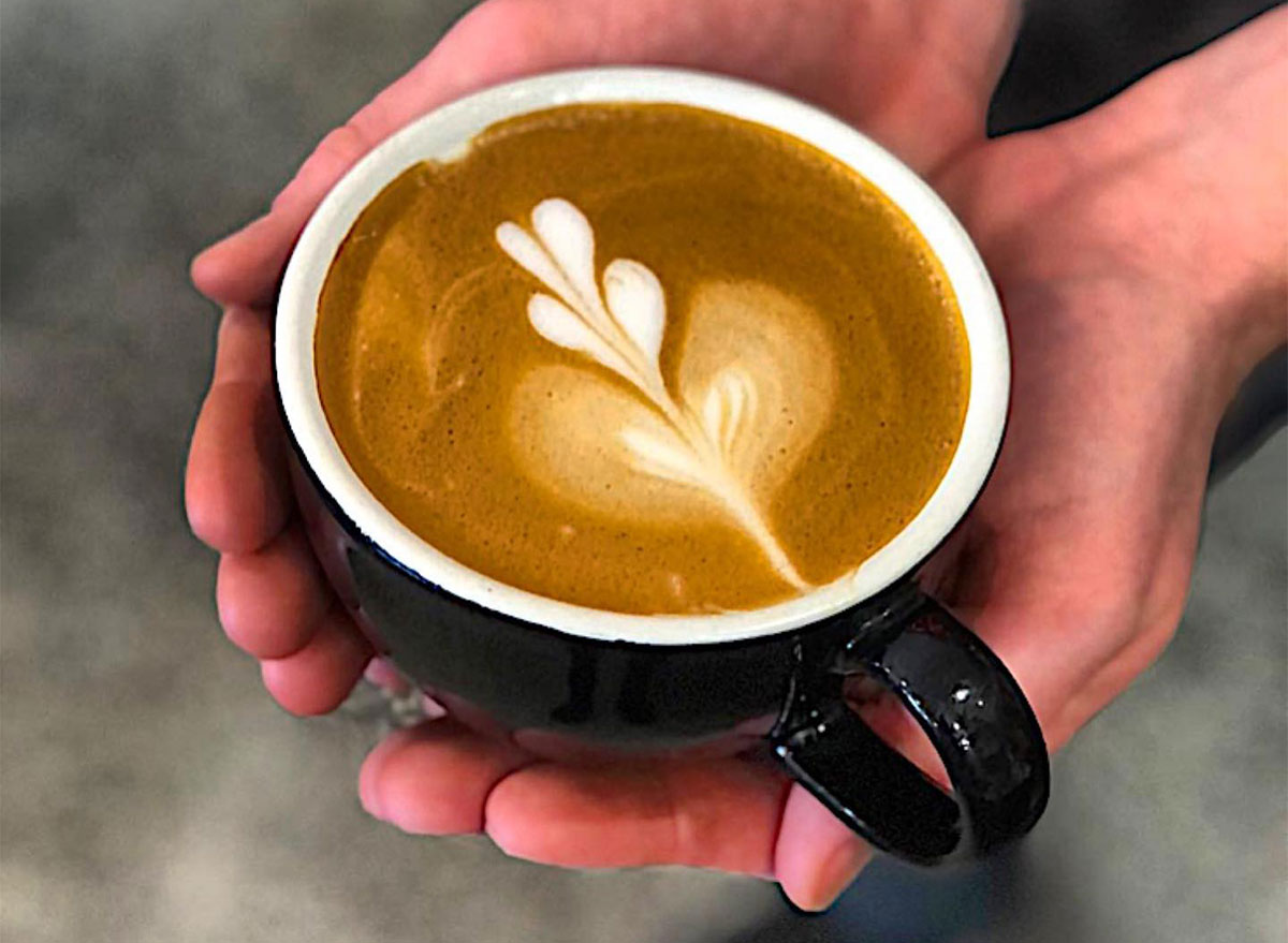 latte art mug closeup