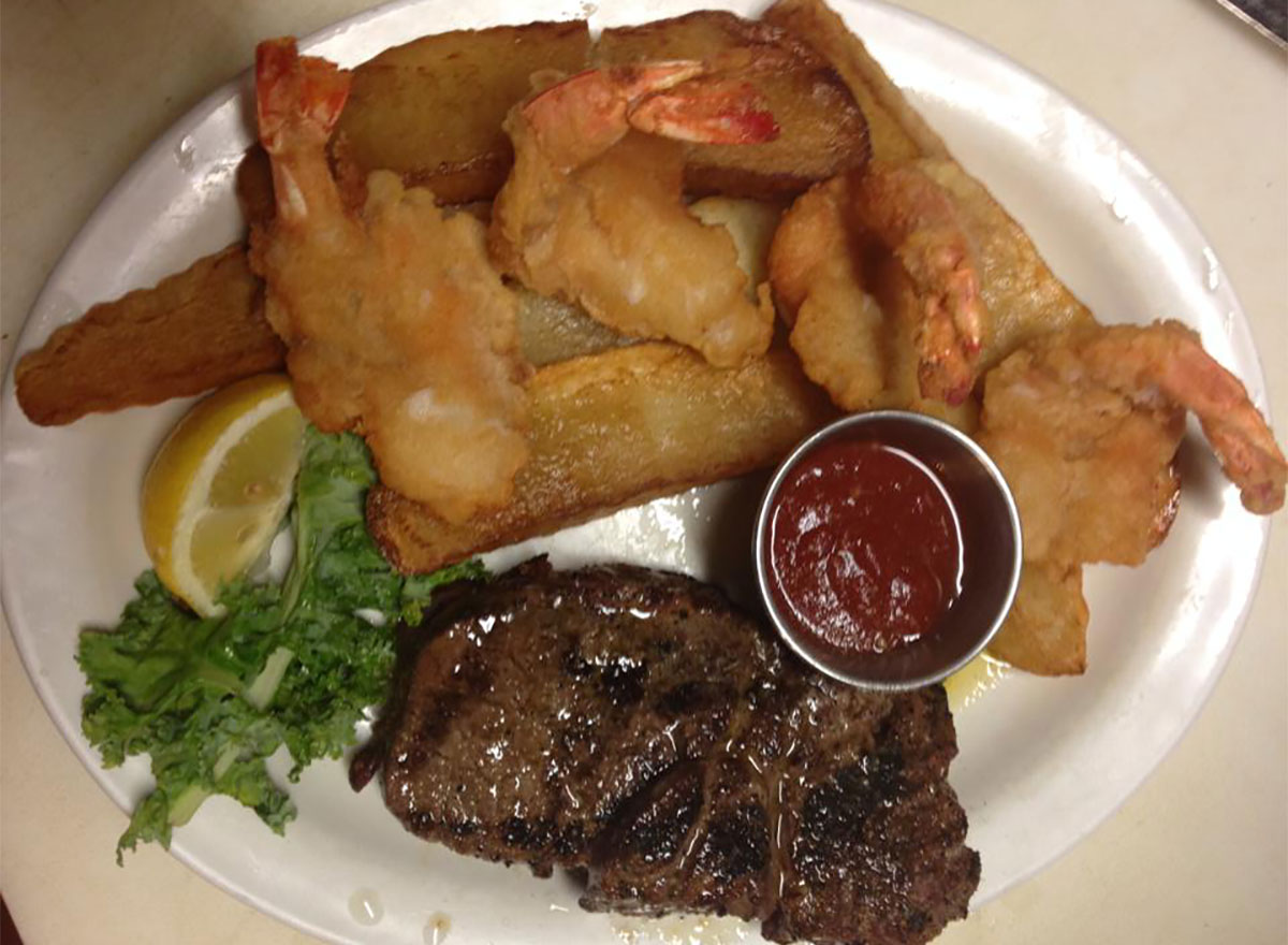 plate of fried food and steak from george's steak pit in alabama