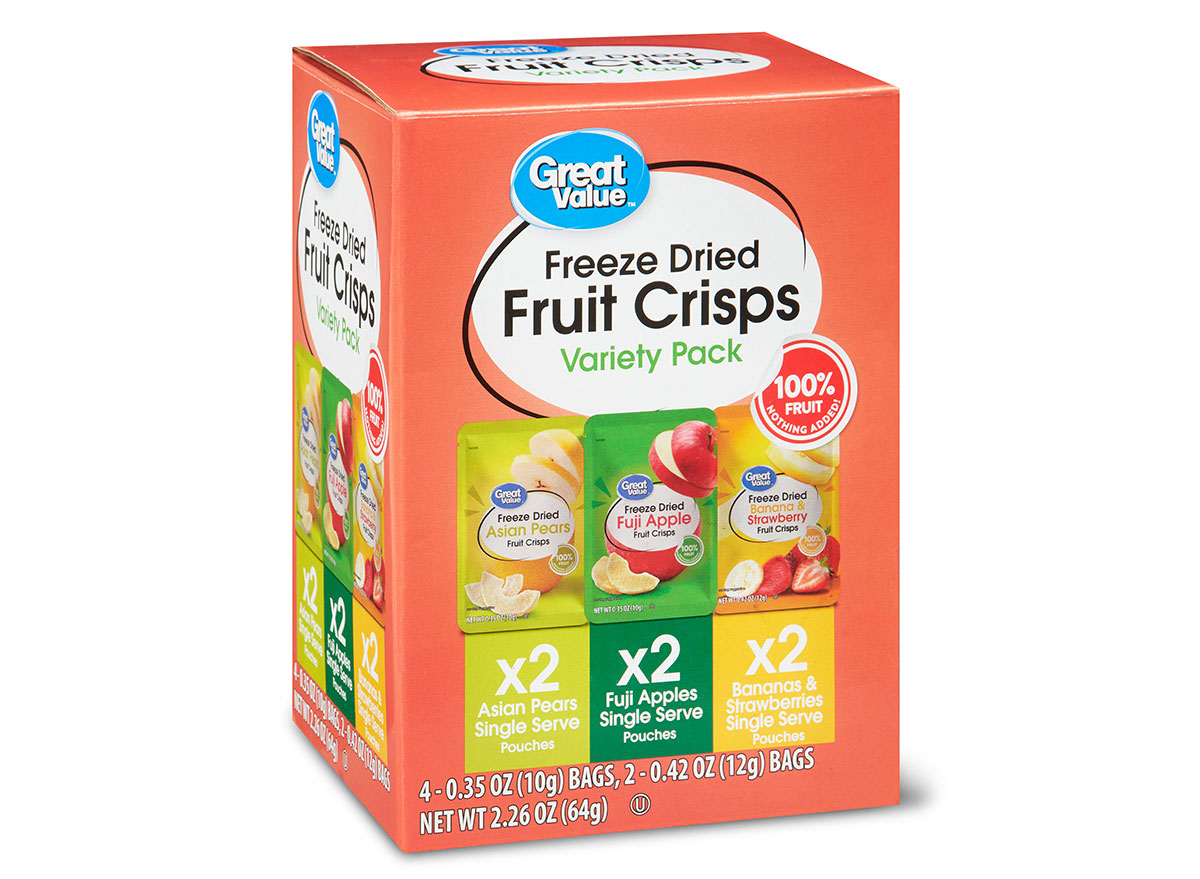 box of great value freeze dried fruit crisps