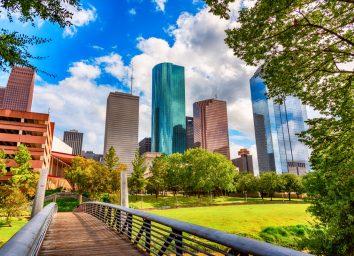 A pedestrian bridge crossing the Buffalo Bayou into downtown Houston Texas.