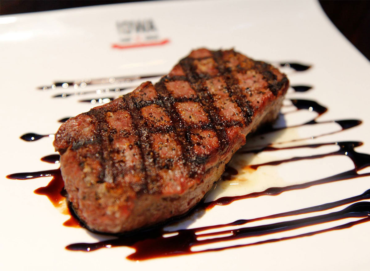 plated steak with glaze