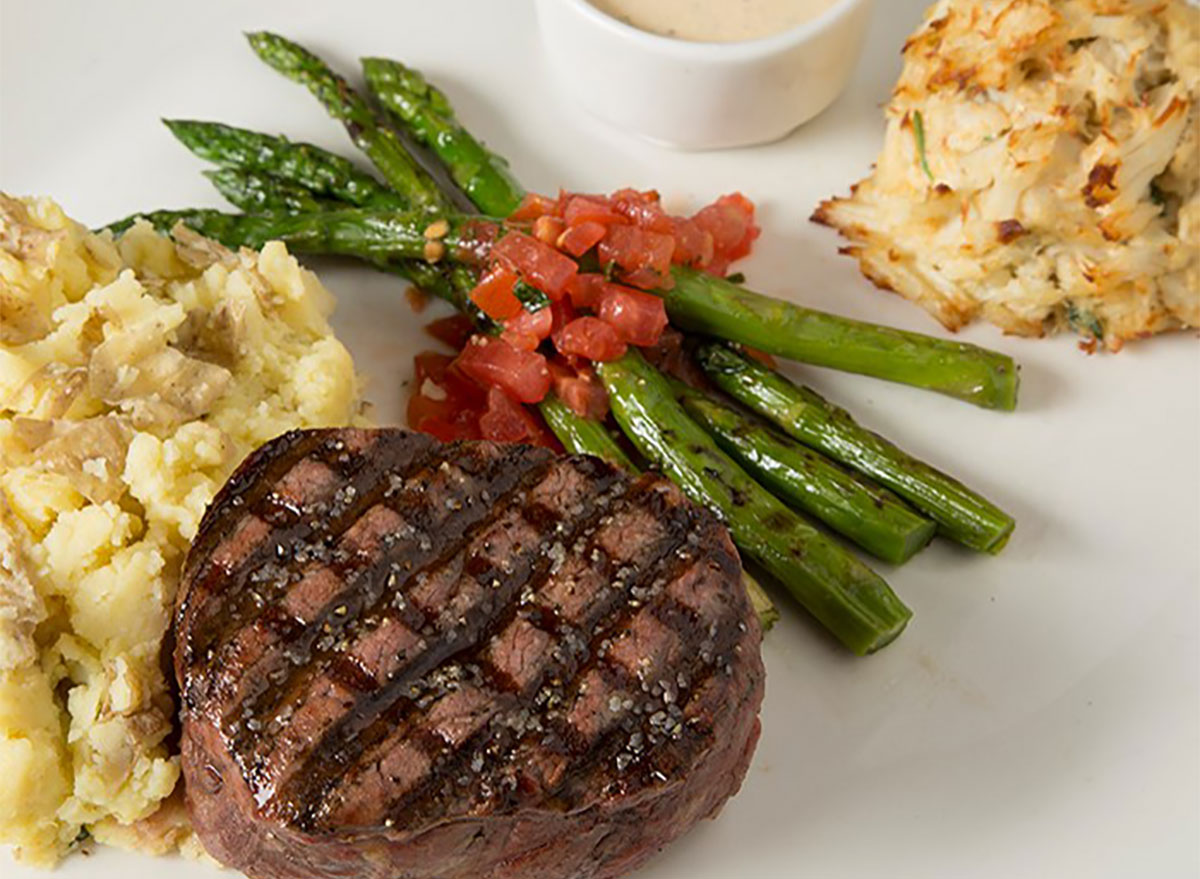 surf and turf platter with steak crab cakes and asparagus