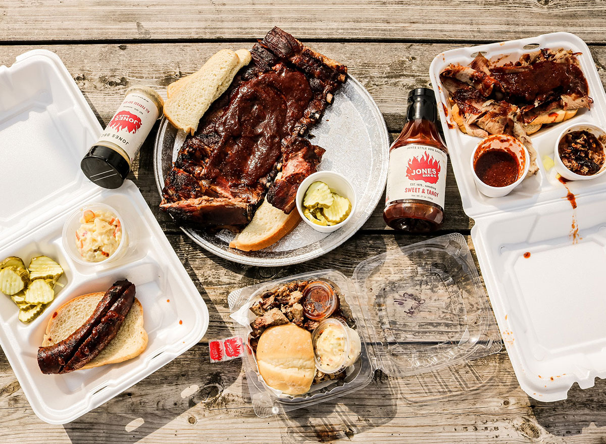 ribs and barbecue sauce bottles