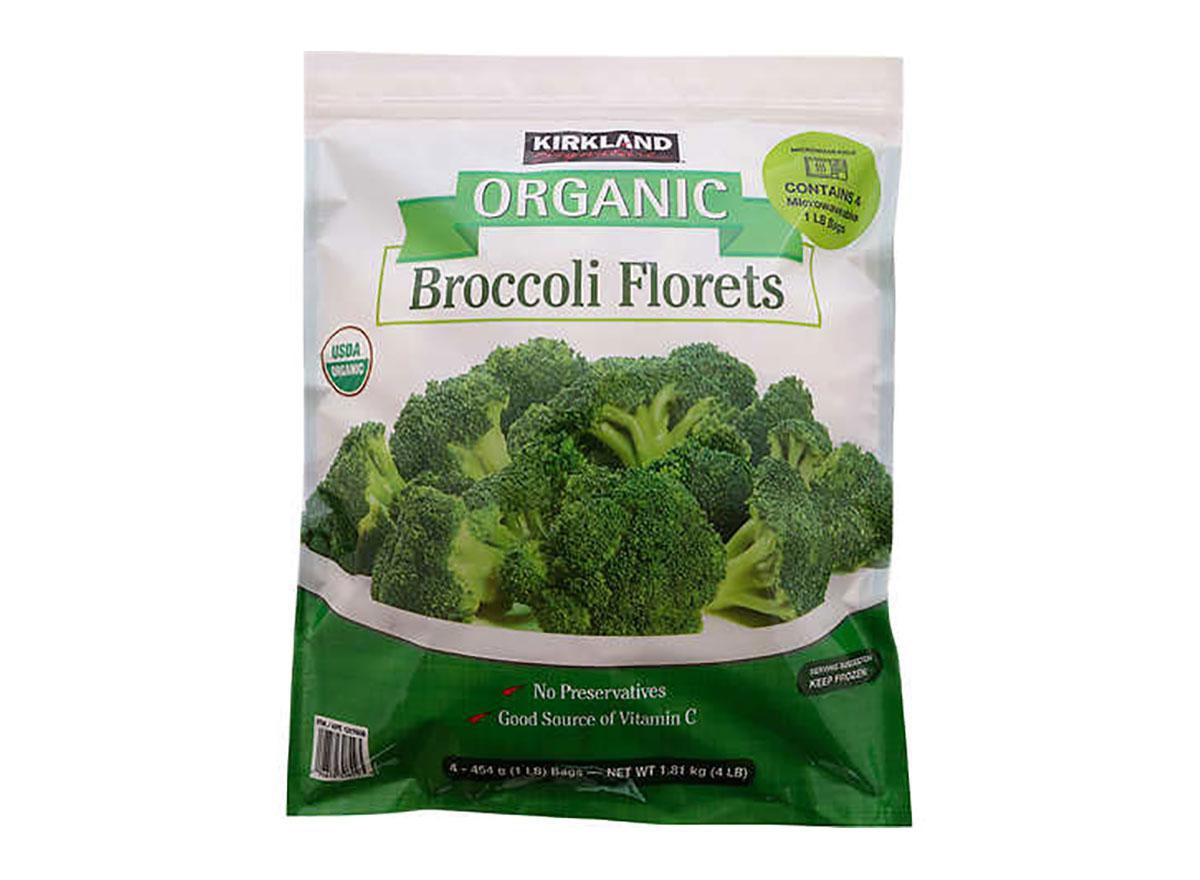 bag of frozen kirkland signature broccoli florets