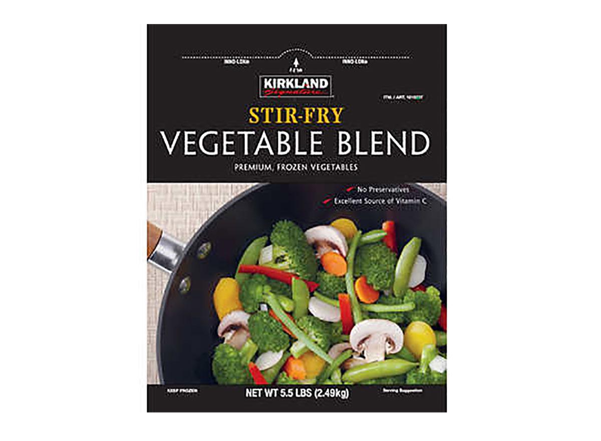 box of frozen kirkland stir fry vegetables