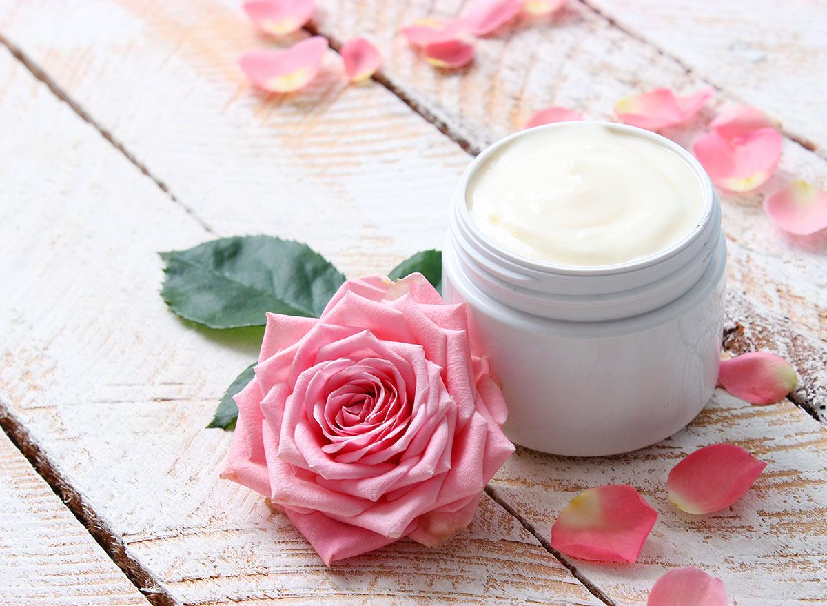 lotion in white jar