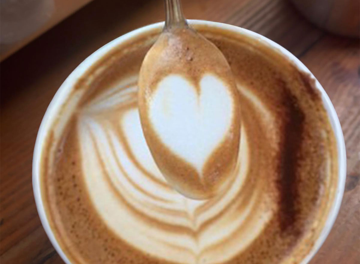 closeup of latte art with spoon