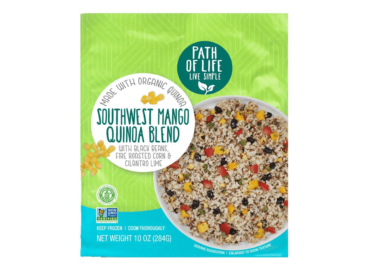 box of frozen southwest mango quinoa blend