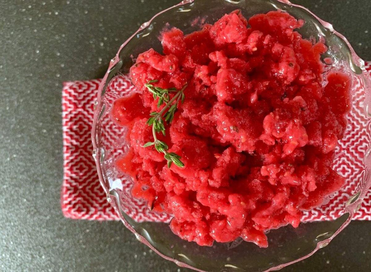 raspberry thyme granita