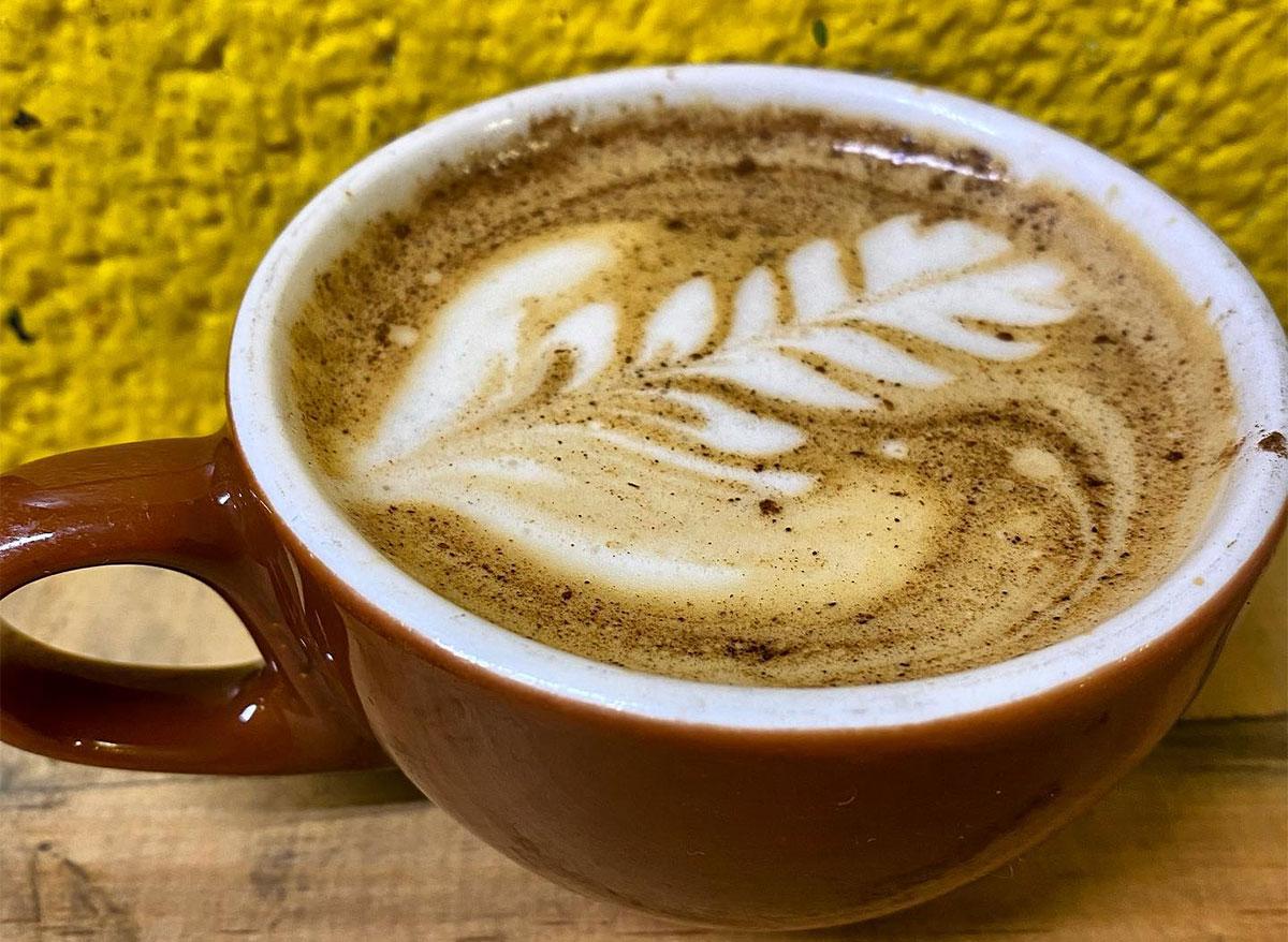 latte in a red mug