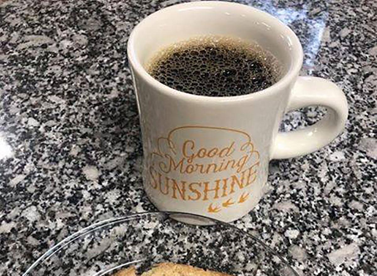 cup of coffee in good morning sunshine mug