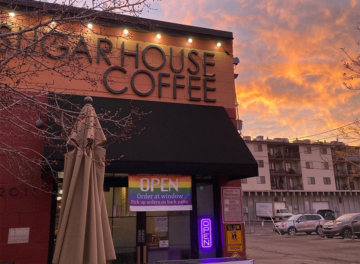 sugar house coffee exterior with sunset