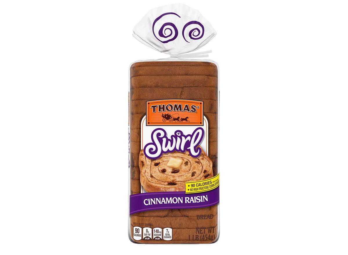 loaf of thomas cinnamon raisin swirl bread