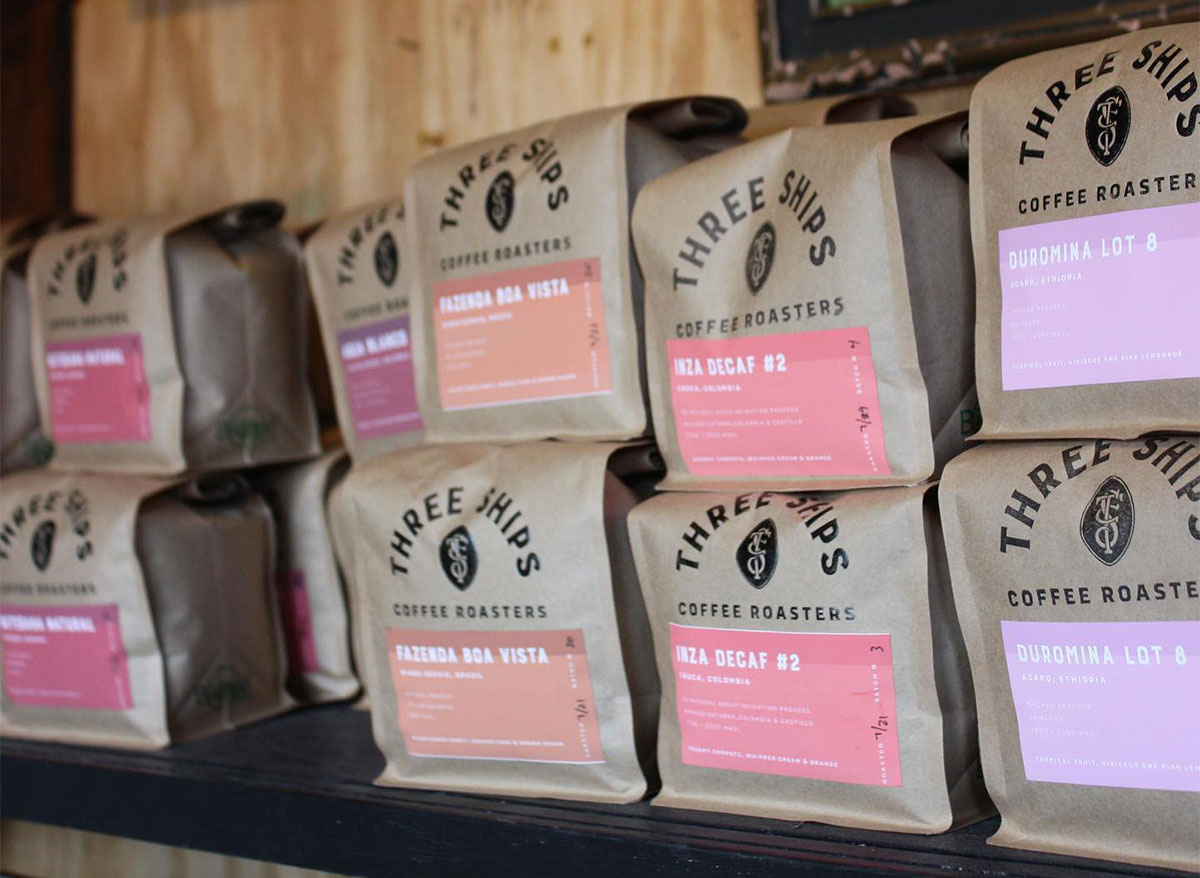 bags of coffee beans from three ships coffee company in virginia