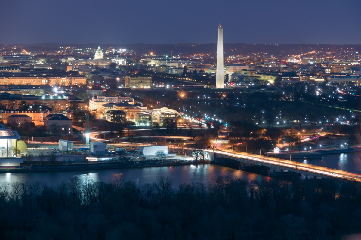 Aerial View of Washington DC at Night