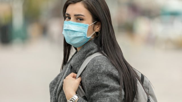 Woman wearing protection mask