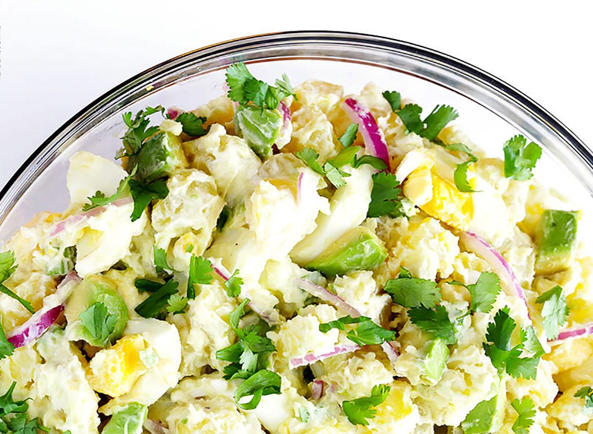 potato salad with avocado and cilantro