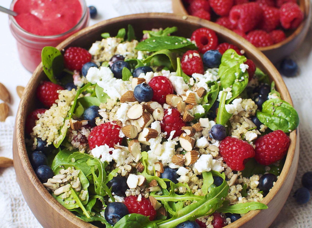 berry, goat cheese, and quinoa salad