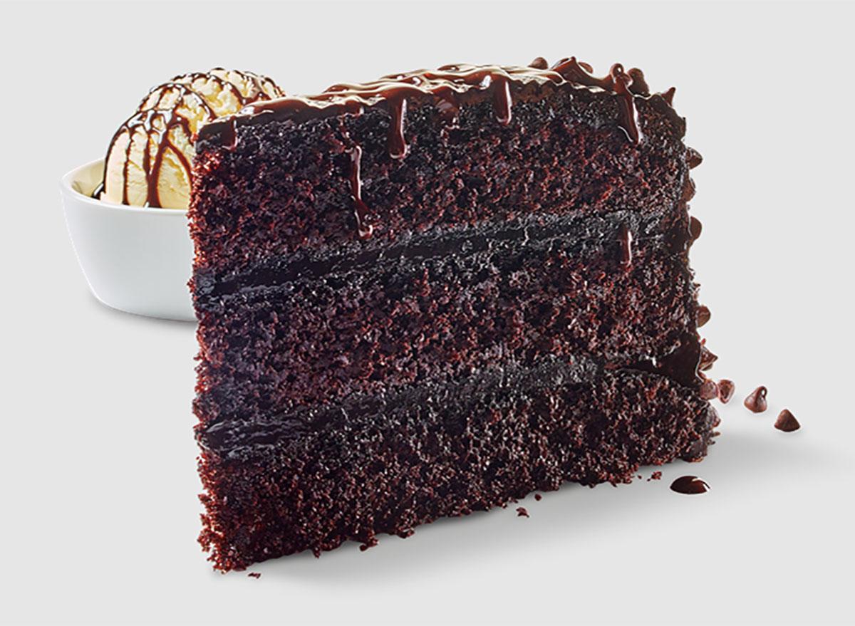 slice of chocolate cake with scoop of vanilla ice cream