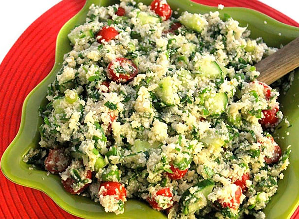 bowl of cauliflower tabbouleh
