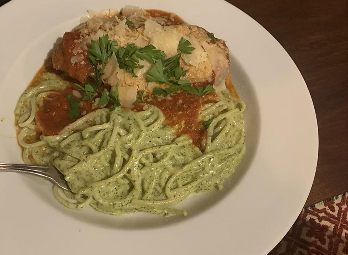 chicken parmesan with pesto linguine
