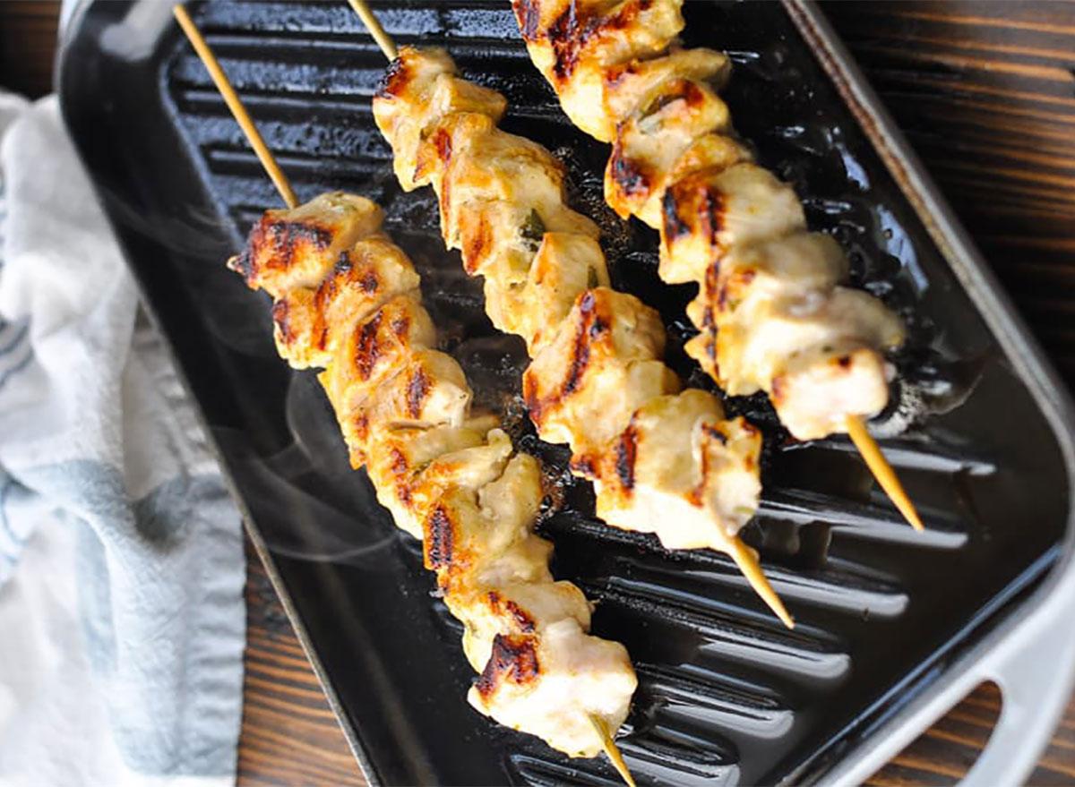 chicken souvlaki skewers on grill pan