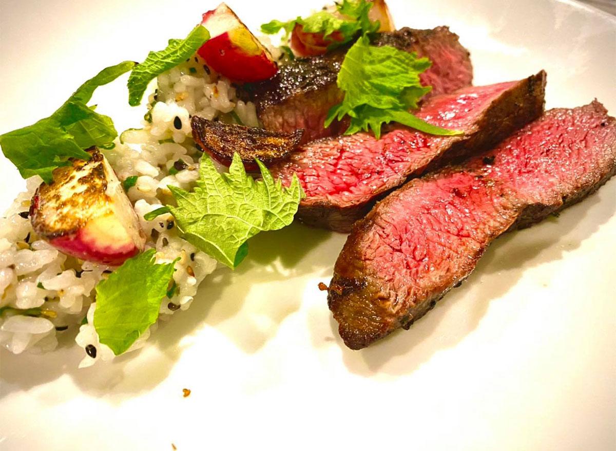 steak frites with garnish