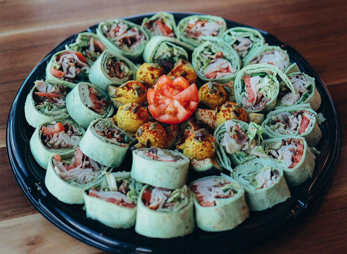 mini chicken wraps on a serving platter