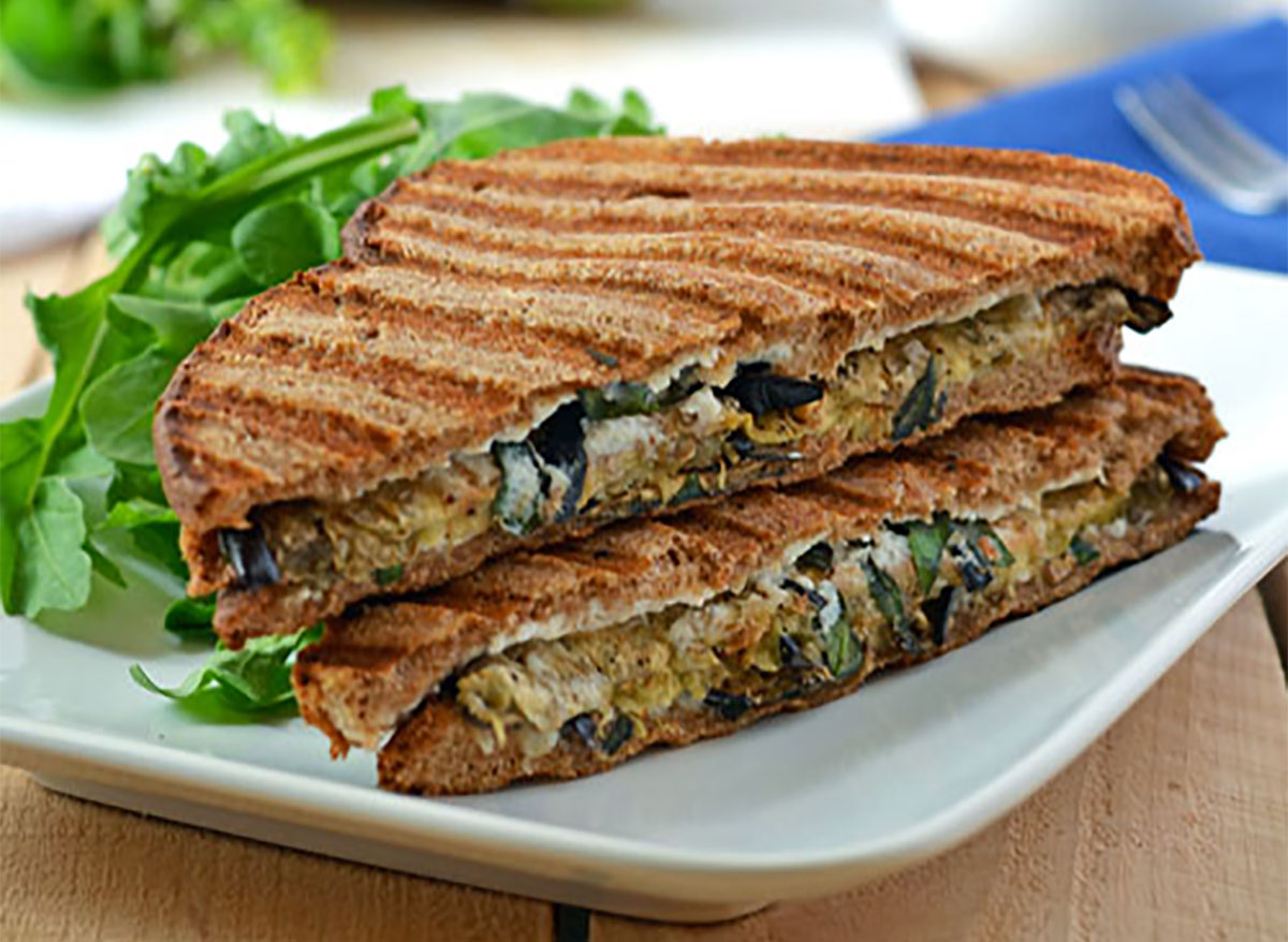 eggplant ricotta grilled cheese sandwich halves