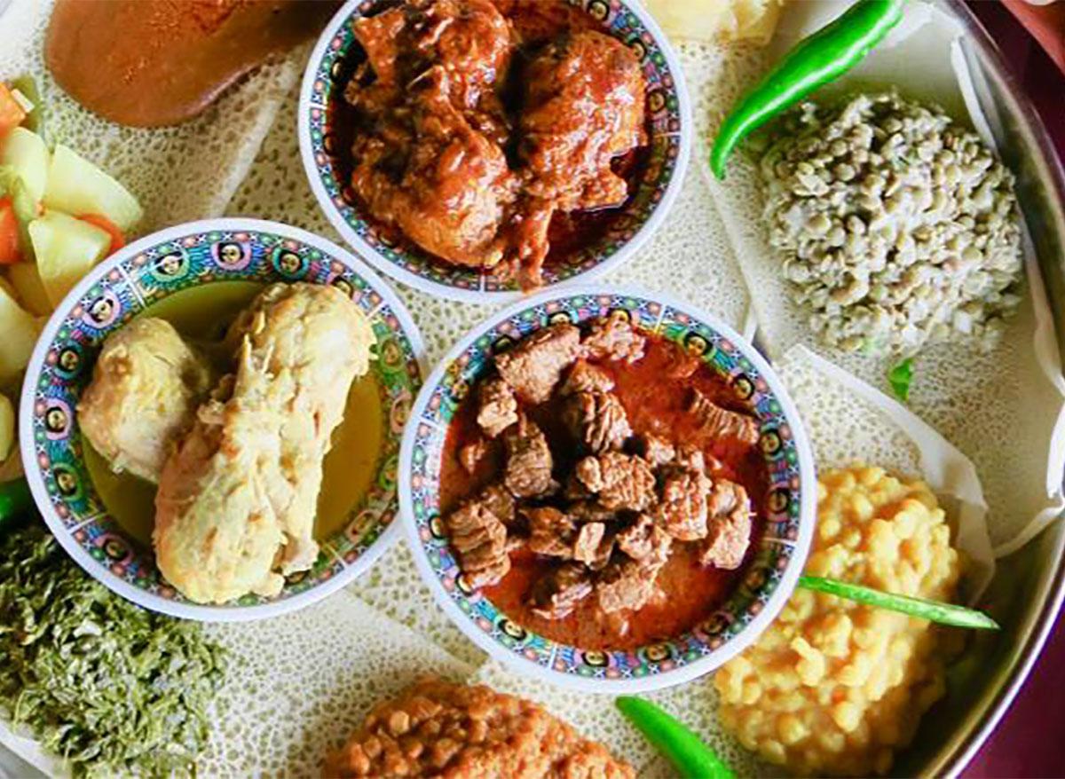 ethiopian meat and vegetables on serving platter
