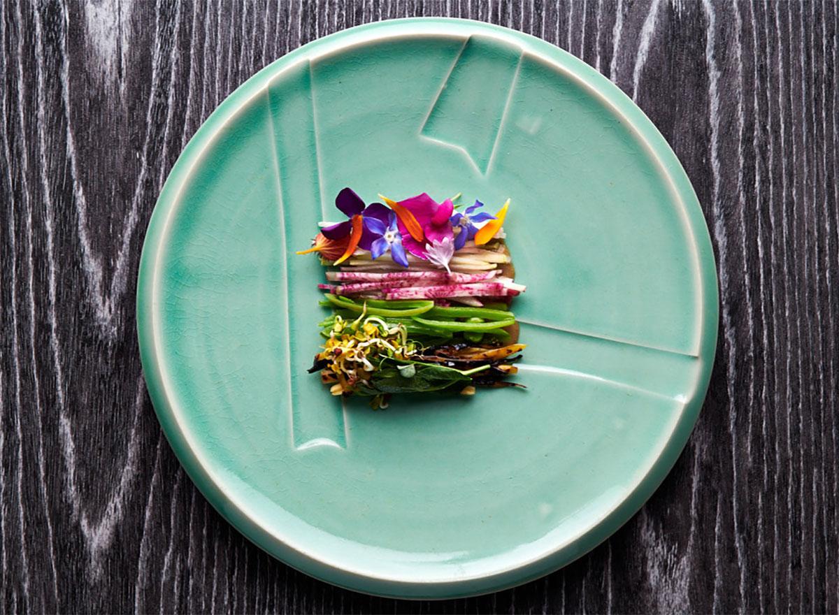 plant food on teal plate