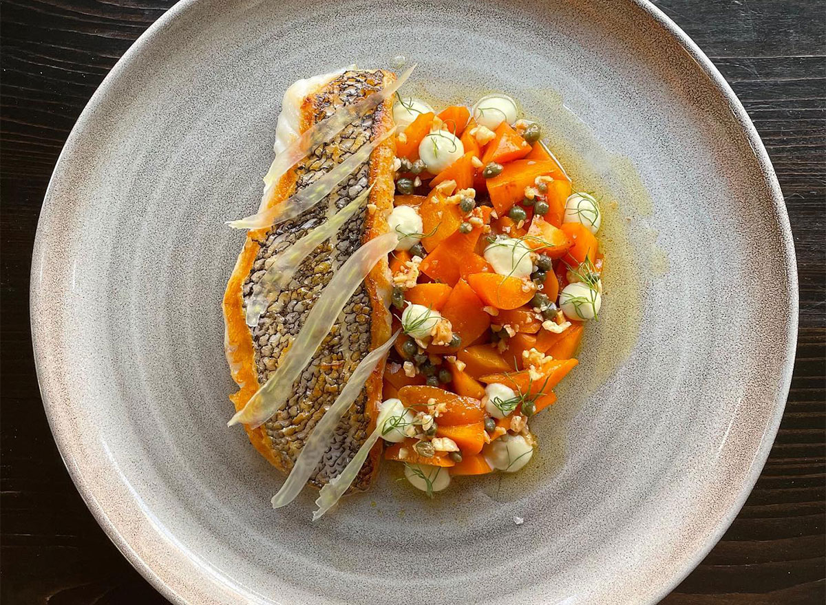 bass fish with roasted vegetables