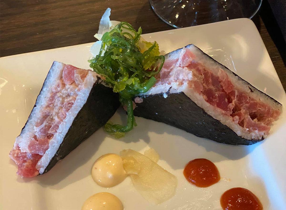tuna sandwich with spicy mayo
