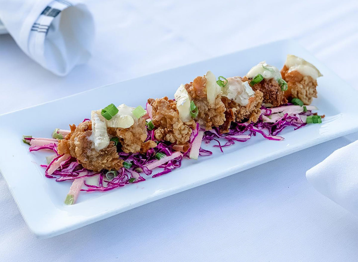 fried oysters topped with brie cheese