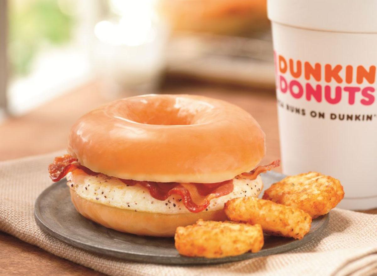 dunkin glazed donut breakfast sandwich