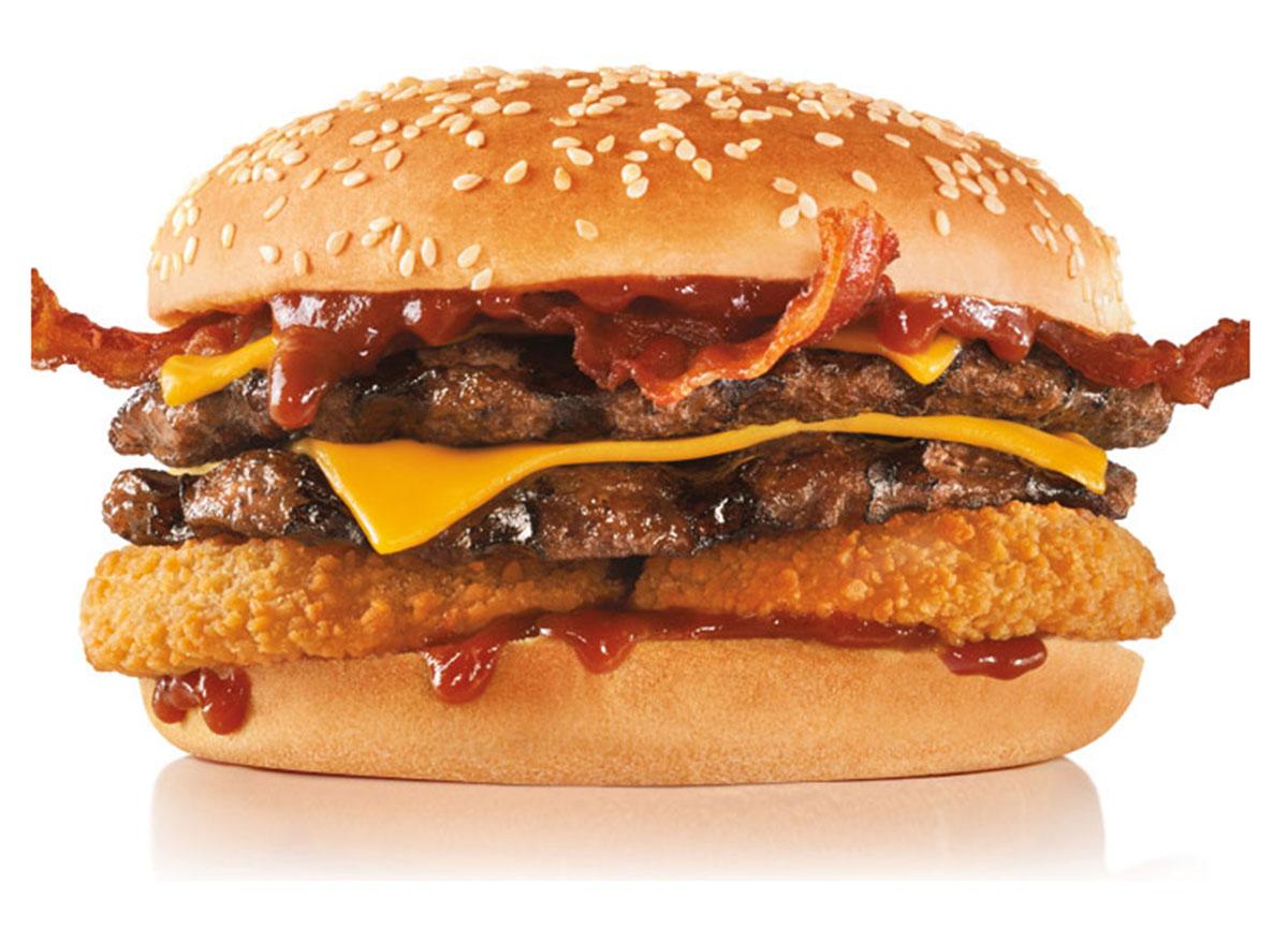hardees double Western Bacon Cheeseburger