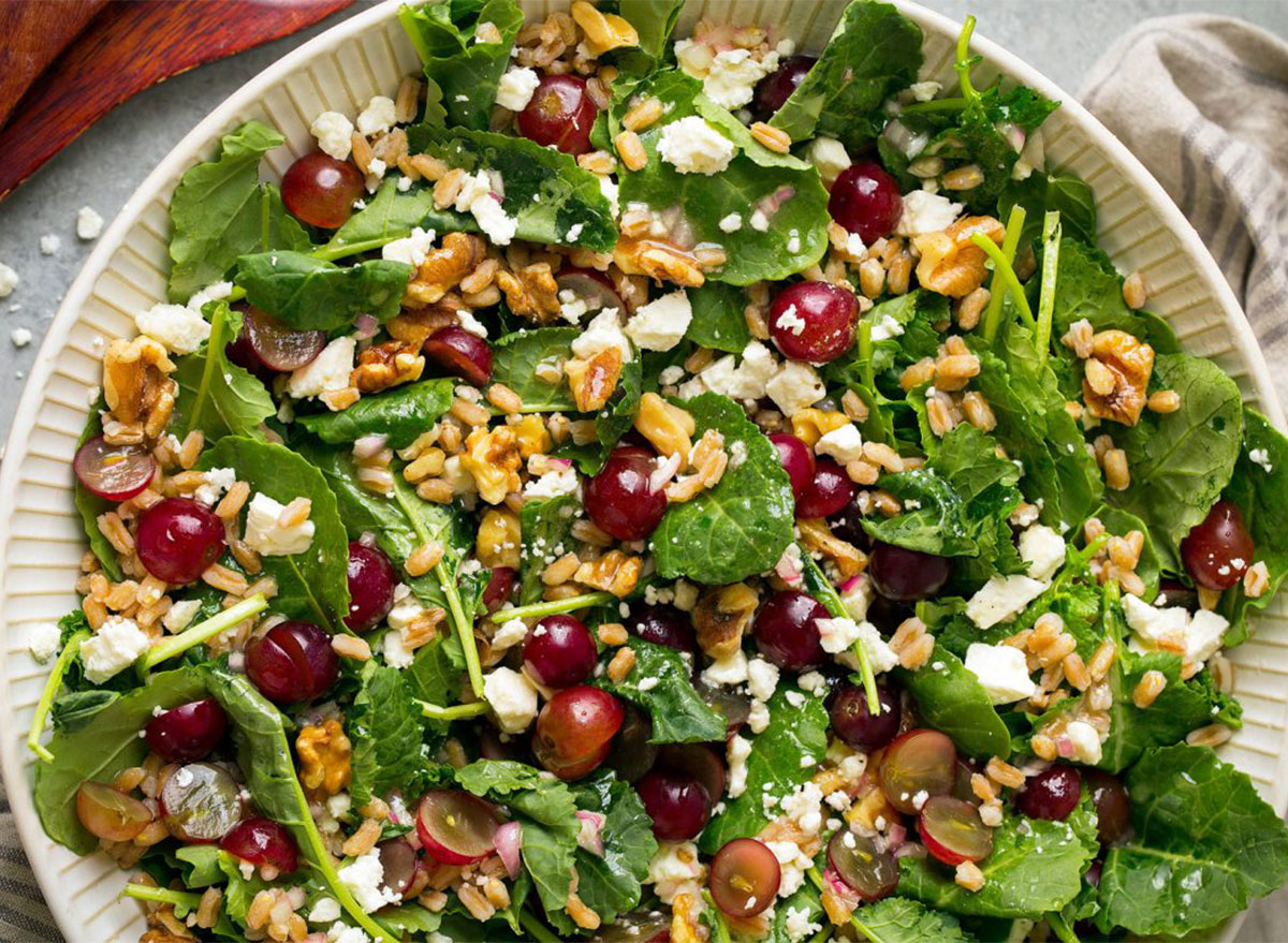 kale and farro salad with grapes and feta cheese