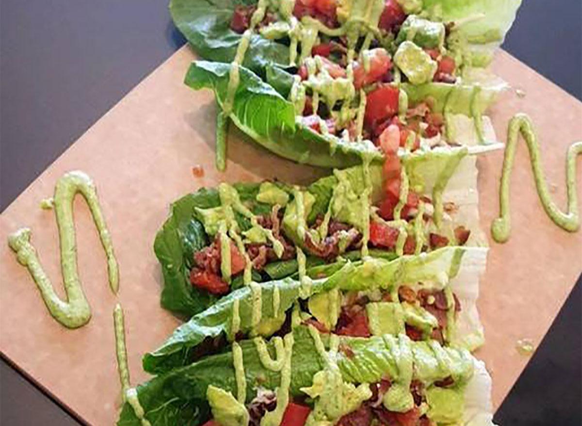 lettuce wrap on serving board