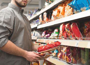 man food shopping snack aisle